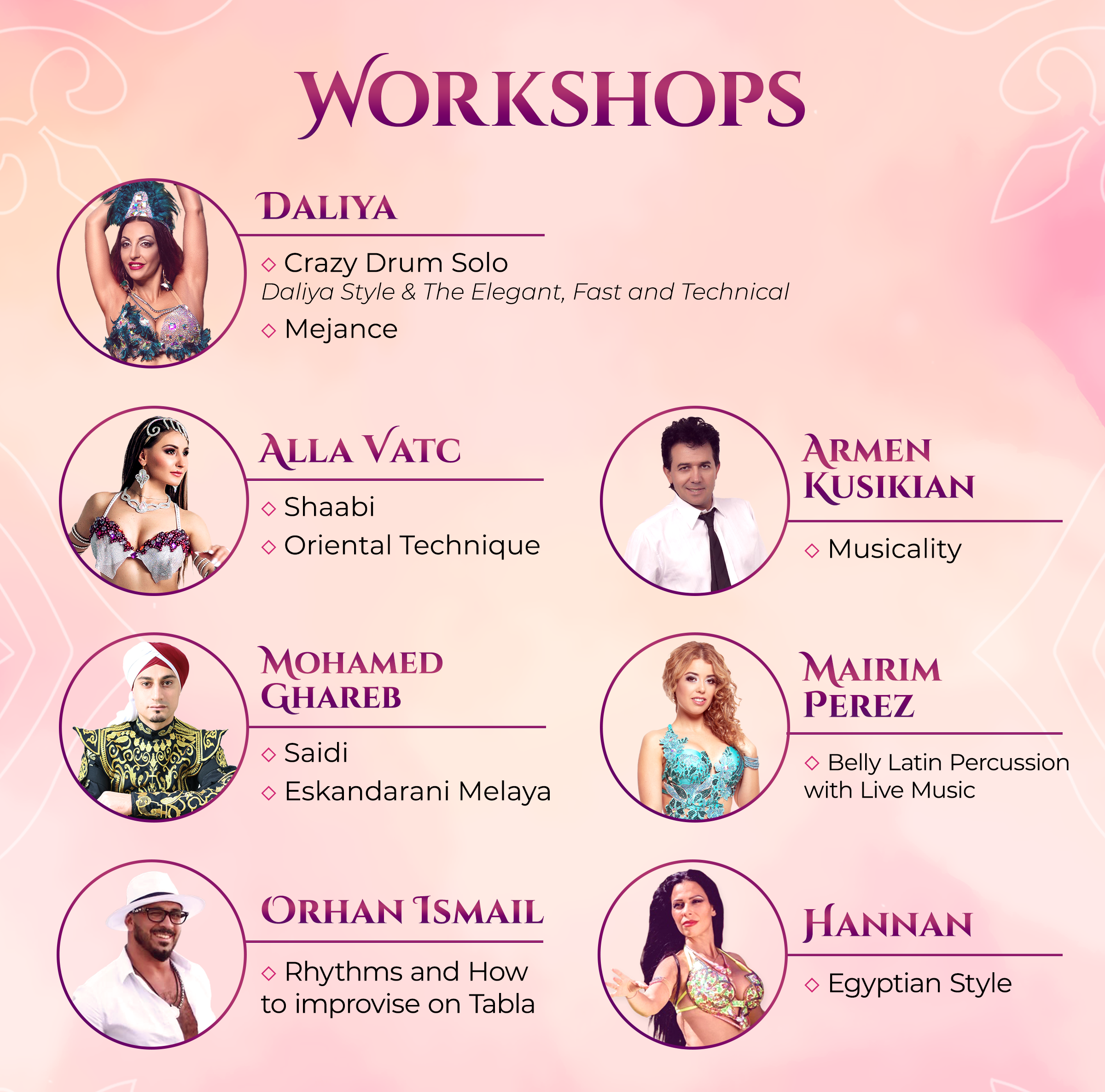 Workshops 2019 - Dancing World Oriental and Fusion Fest